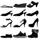 Girl Female Woman Shoes Footwear. A set of female shoes from casual, sports, and elegance Stock Photography