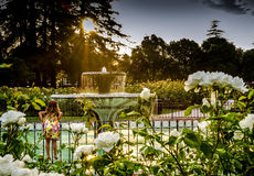 Girl on fence looking at fountain. Barefoot Girl in flowered dress looking at water fountain Stock Photo