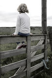 Girl on a fence. Girl on a wooden fence outdoor field Royalty Free Stock Image