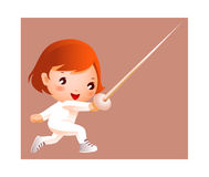 Girl in fencing costume Stock Photos