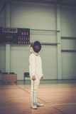 Girl on fencing training Royalty Free Stock Image