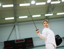Girl on fencing training Royalty Free Stock Photography