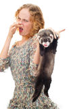 Girl with the ferret. Beautiful girl with the ferret Stock Photos