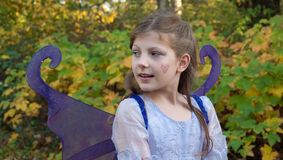 Girl in Ferry Princess Costume. This cute 9 year old girl is wearing a fairy princess costume outdoors against fall leaves in a Halloween outfit Royalty Free Stock Image