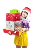 Girl  with few coloured gifts Stock Photography