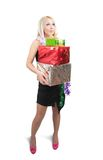 Girl with  few present boxes Royalty Free Stock Photography