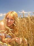 Girl in field. Field of Wheat royalty free stock images