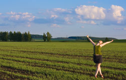 Girl in the field. Girl posing in the field Royalty Free Stock Photography