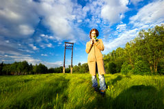 Girl in the field Royalty Free Stock Images