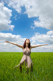 Girl at field Royalty Free Stock Photos
