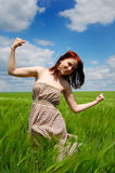 Girl at field Royalty Free Stock Images