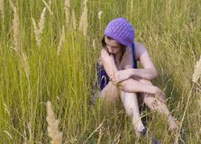 The girl in the field. Royalty Free Stock Photo