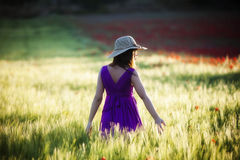Girl on field Royalty Free Stock Photo