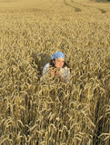 Girl in the field. Girl sitting in the field stock image