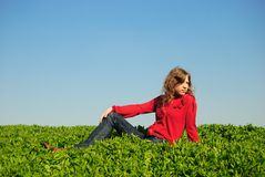 Girl in the field Stock Photos