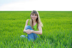 Girl in  field Stock Photo