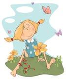 A girl on a field. Cartoon Stock Photography