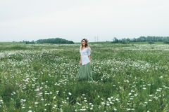 A girl in a field of chamomiles Stock Images