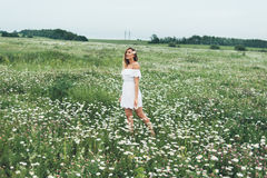A girl in a field of chamomiles Stock Photography
