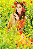 Girl in field Stock Photography
