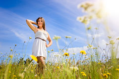 Girl in Field of Flowers Royalty Free Stock Photos
