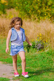 Girl in a field with  flowers Royalty Free Stock Images