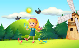 A girl in the field. Illustration of a girl in the field Stock Images