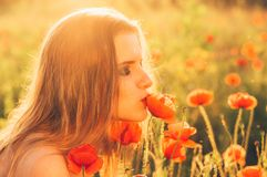 Girl in the field kissing poppy flower stock image