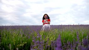Girl in a field of lavender fun screams and slaps stock footage
