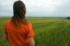 Girl in field overlooking valley Royalty Free Stock Images