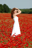 Girl on the field with poppies Royalty Free Stock Photography
