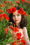 Girl in a field of poppies Stock Photography