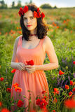 Girl in a field of poppies Royalty Free Stock Images
