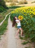 Girl on the field of sunflowers Stock Photo
