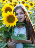 Girl on the field of sunflowers Royalty Free Stock Images