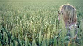 Girl in a field stock video footage
