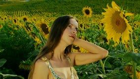 Girl In A Field stock footage