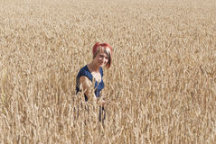 Girl in a field of wheat. Stock Image