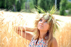 The girl on a field with wheat ears. Girl with a wreath of wheat ears sitting on the field and looking up to the sky Stock Image