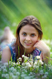 Girl on a field Royalty Free Stock Images
