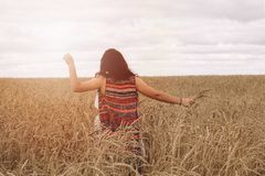 girl in a field royalty free stock photos