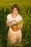 Girl in a field. Young girl standing in a field Royalty Free Stock Photography