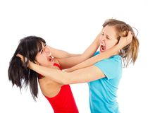 Girl fight. Friends having a fight and tearing each others' hair stock photography