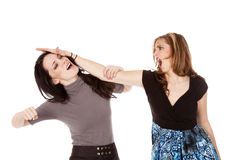 Girl fight punch stock photography
