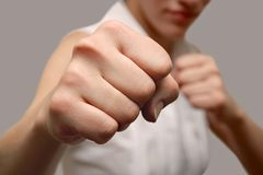 Girl fighter Royalty Free Stock Photo
