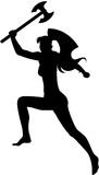 Girl Fighter. An image of jumping girl with axe in her hand. Female silhouette, isolated Royalty Free Stock Photos