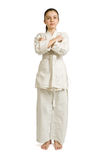 Girl-fighter in a greeting position. Girl-fighter aikido in a greeting position Stock Photos