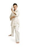 The girl-fighter in a protection position. The girl-fighter aikido in a protection position Stock Photo