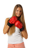 Girl in fighting gloves Royalty Free Stock Image