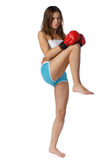 Girl in fighting gloves Stock Photo